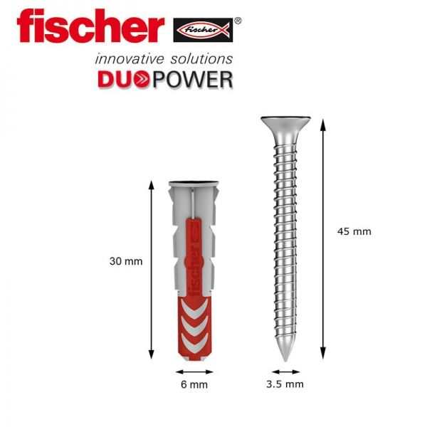 Taco 6mm fischer DUOPOWER con tornillo